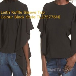 LEITH Ruffle Sleeve Top Black